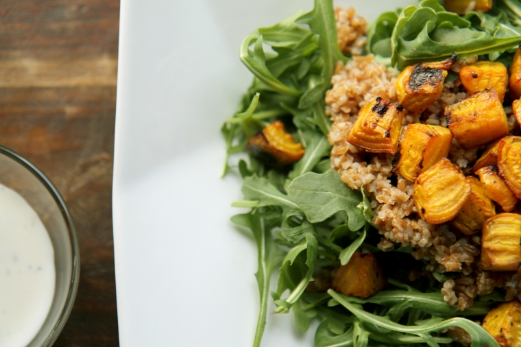 roasted beets, bulgur wheat, and arugula