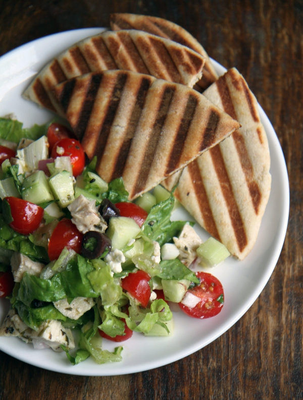 greek salad with roast tarragon chicken