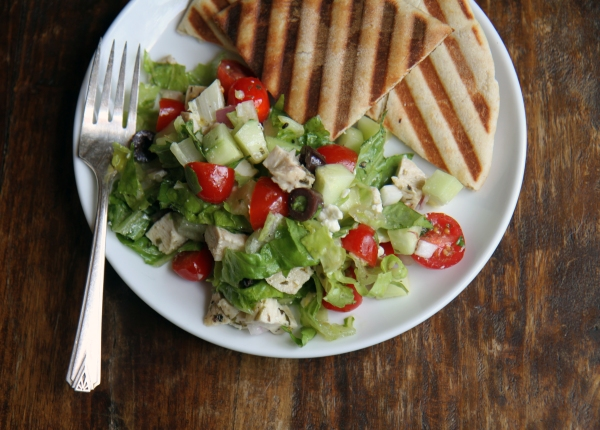 roast tarragon chicken greek salad