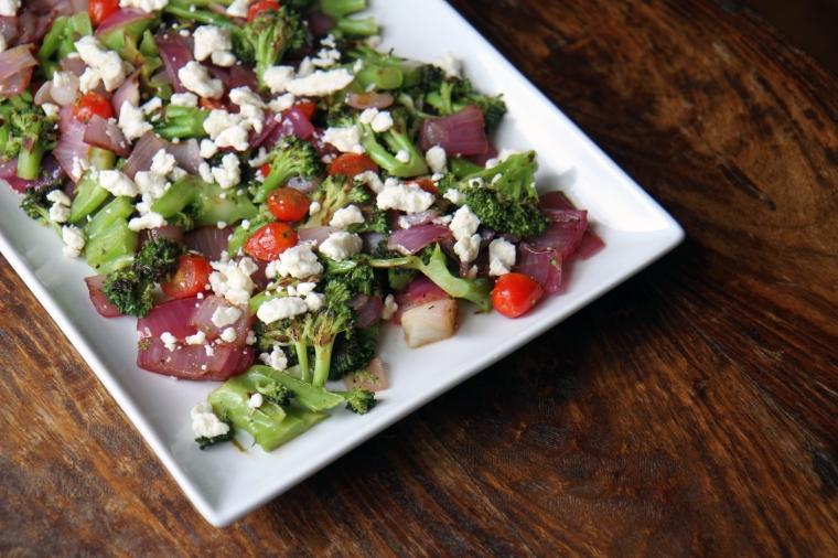 grilled broccoli and tomato salad