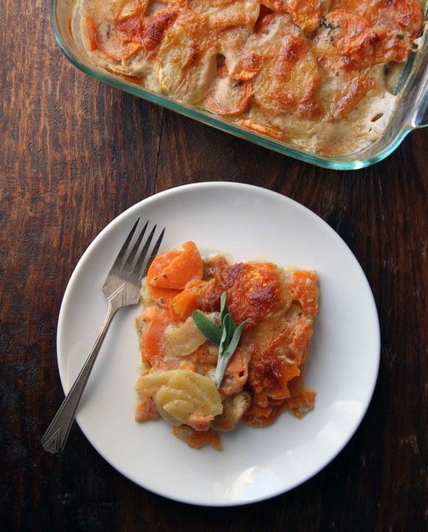 brown butter and sage scalloped sweet potatoes