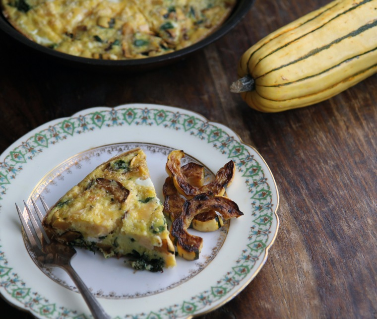 roasted squash and spinach fritatta with smoked gouda