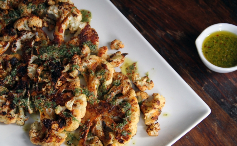 spiced cauliflower with chimichurri