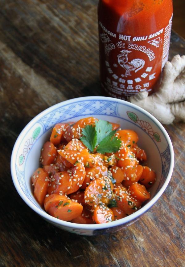 sriracha and ginger glazed carrots