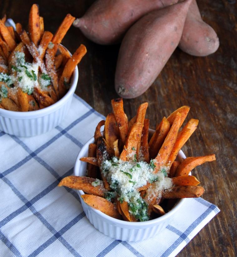 sweet potato fries with garlic parmesan