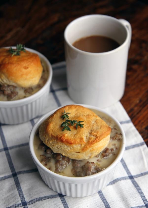 sausage gravy and roasted veggie breakfast casserole