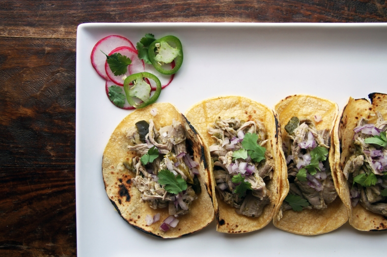chile verde pork tacos with cilantro